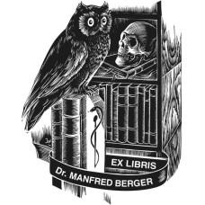 Ex Libris Eule und Medizin, Äskulap