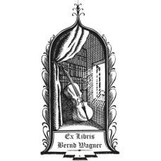 Ex Libris Cello und Bibliothek