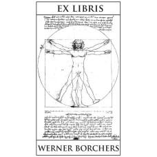 Ex Libris der vitruvianische Mensch mit Text